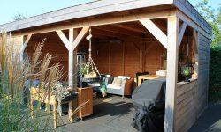 houten terras met plat dak in EPDM